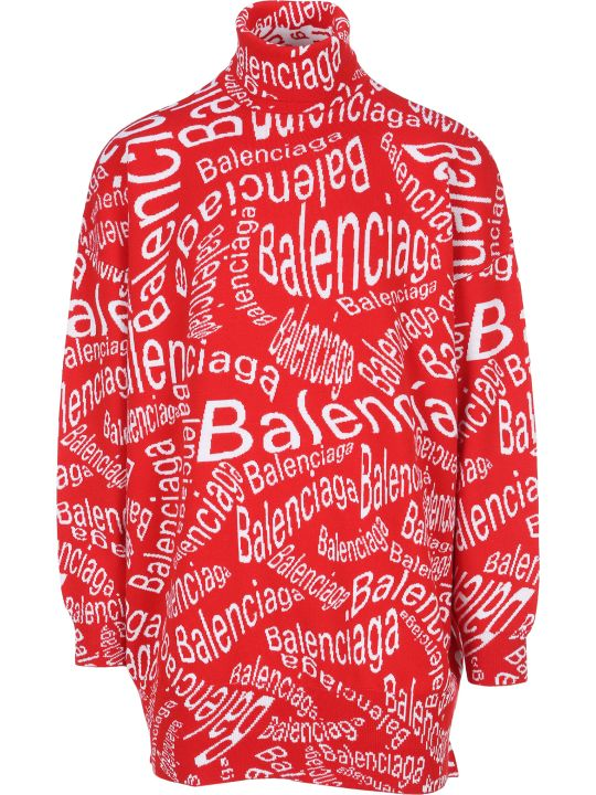 Balenciaga Jacquard Logo Turtleneck Sweater