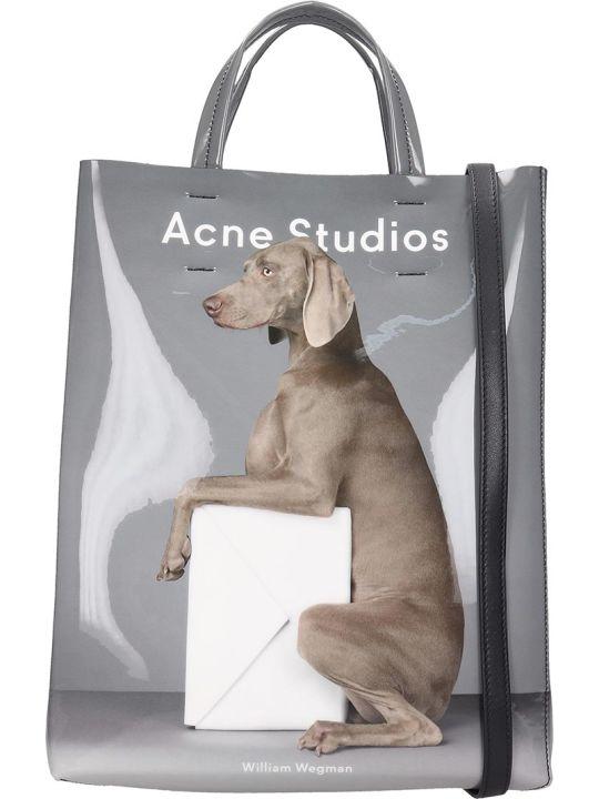 Acne Studios Baker Shoulder Bag In Grey Patent Leather