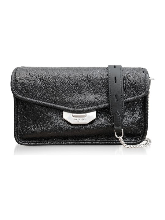 Rag & Bone Black Crackle Leather Field Clutch
