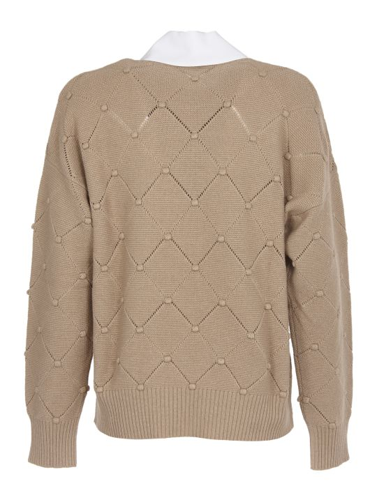 Vivetta Beige Sweater With Shirt Collar