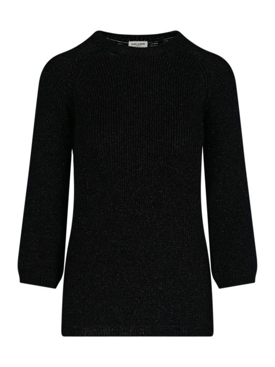 Saint Laurent Rib-knit Lamé Sweater