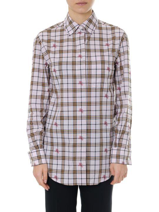 Burberry Pink Cotton Shirt Check Print Logo Equestrian Knight