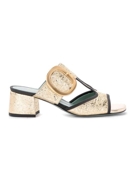 Paola D'Arcano Tory Platinum Craqueled Leather Sandal