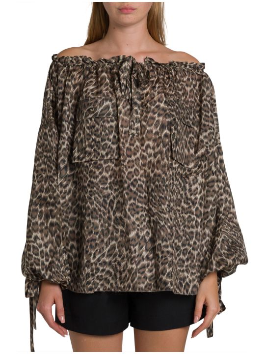 Zimmermann Suraya Silk Shirt With Leopard Motif
