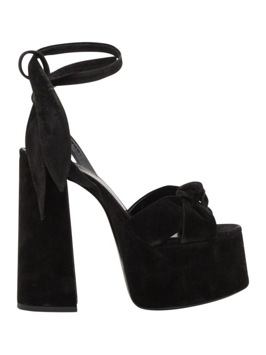 Saint Laurent Paige Suede Platform Sandals