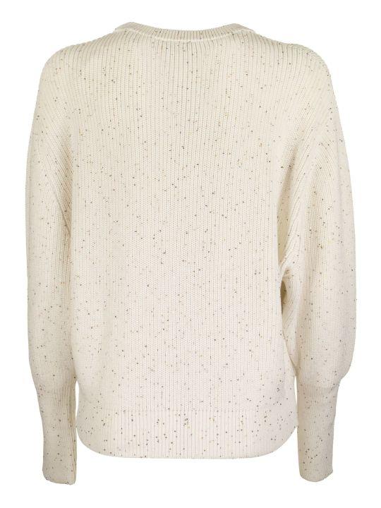 Brunello Cucinelli Crewneck Sweater Cotton And Silk Half English Rib Dazzling Tweed