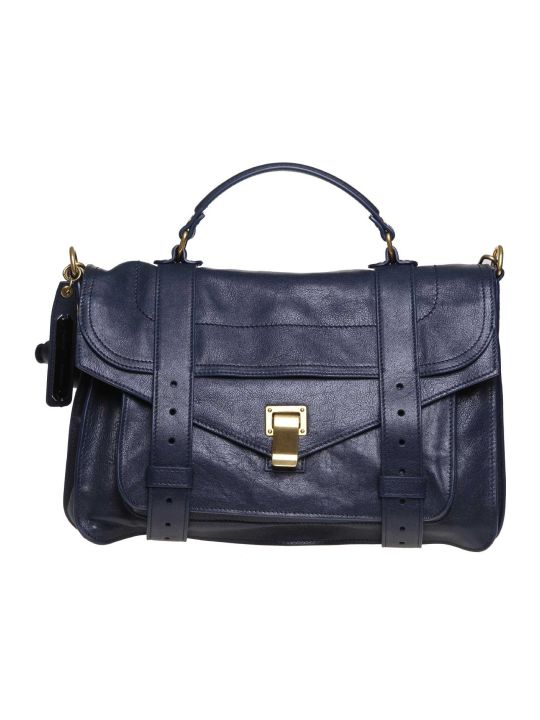 Proenza Schouler Ps1 Shoulder Bag In Blue Leather Textured Leather