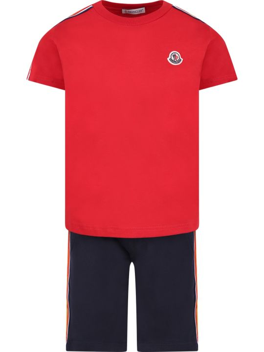 Moncler Red And Blue Boy Suit With Iconic Logo