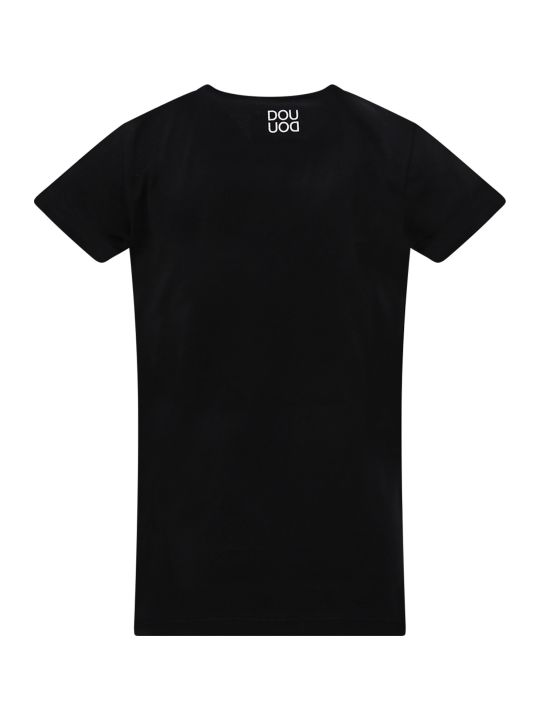 Douuod Black T-shirt With White Cloud