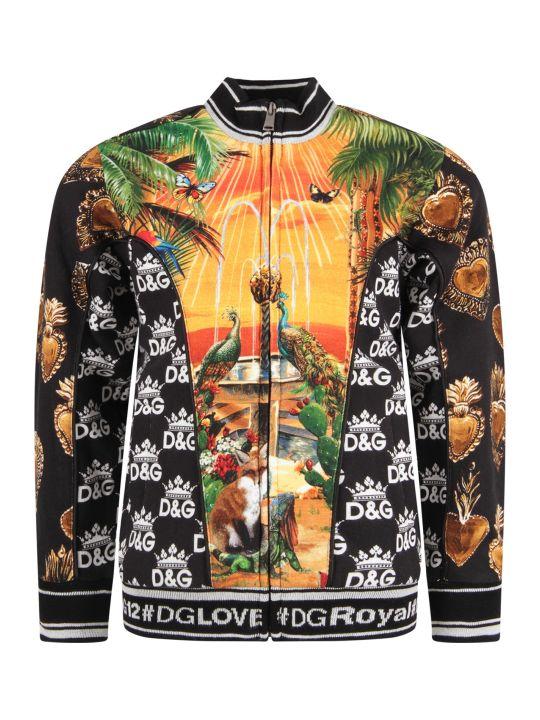 Dolce & Gabbana Black Babyboy Sweatshirt With Colorful ''hawaii'' Theme