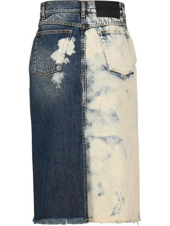 Givenchy Two-tone Ripped Denim Skirt