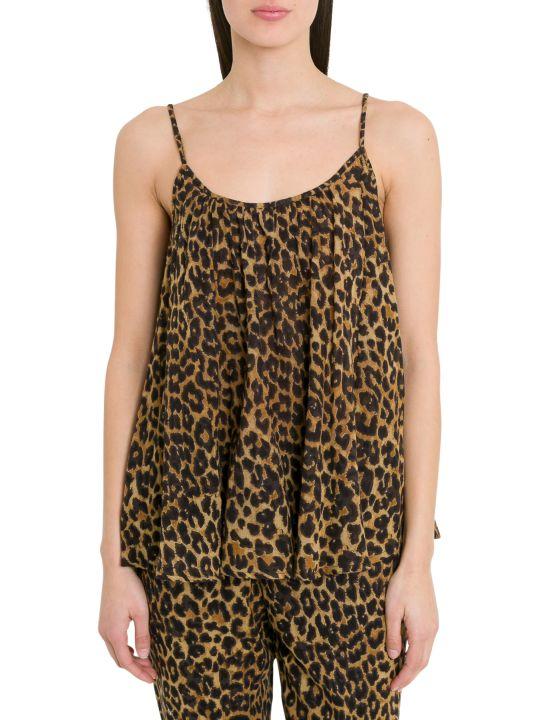 Mes Demoiselles Leopard Printed Voile Top