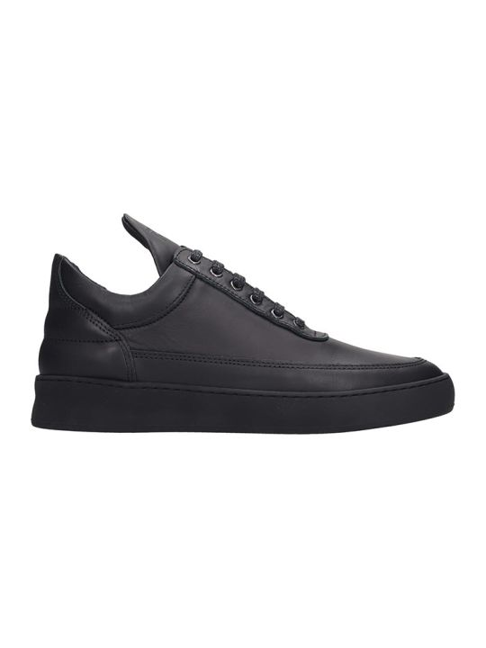 Filling Pieces Low Top Plain  Sneakers In Black Leather
