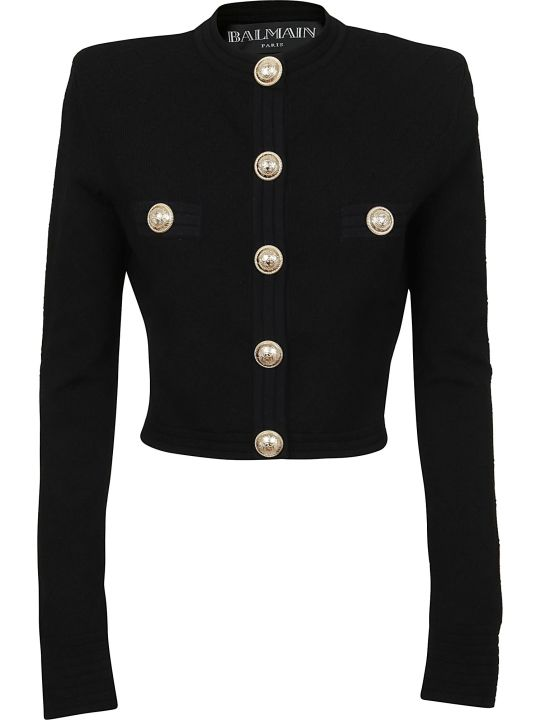 Balmain Short Buttoned Diamond Viscose Cardigan