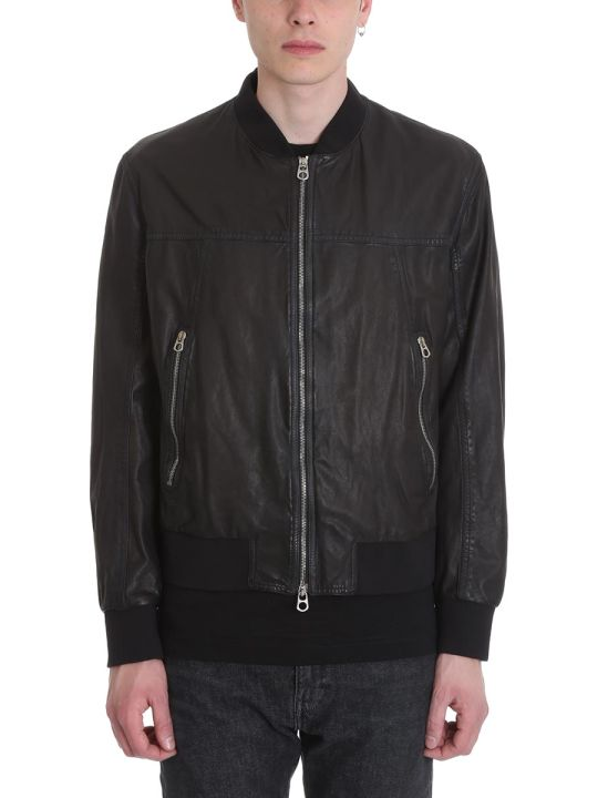 DROMe Black Leather Bomber Jacket