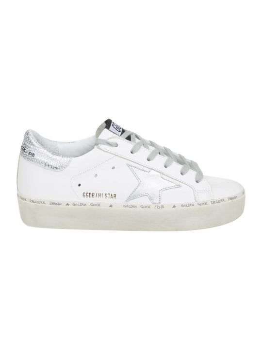 Golden Goose Hi Star Sneakers In White Leather With Star In Silver Contrast