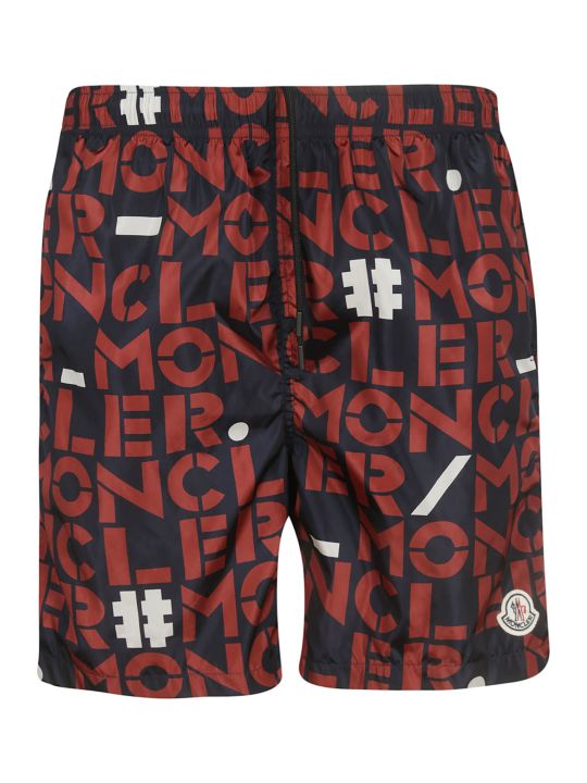 Moncler Printed Logo Swim Shorts