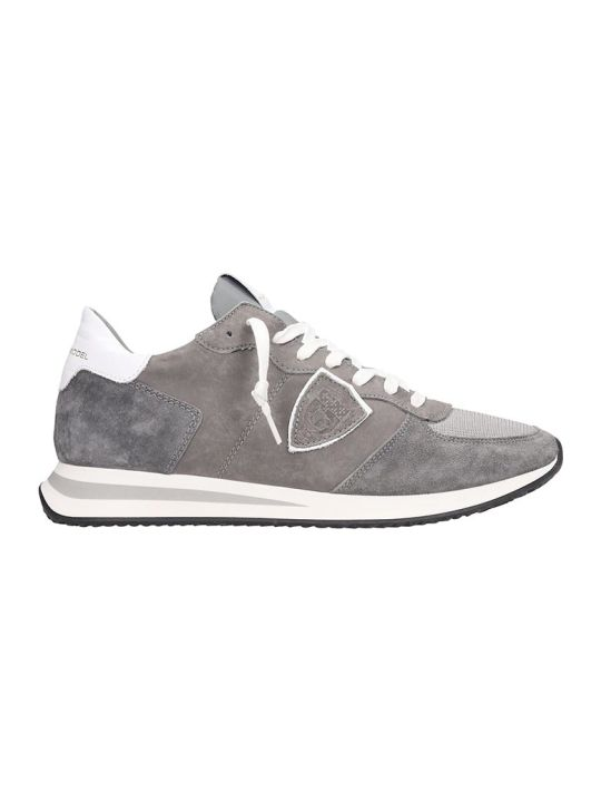 Philippe Model Trpx  Sneakers In Grey Suede And Leather