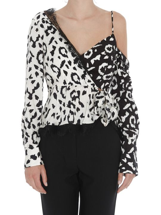 self-portrait Cropped Animalier Top