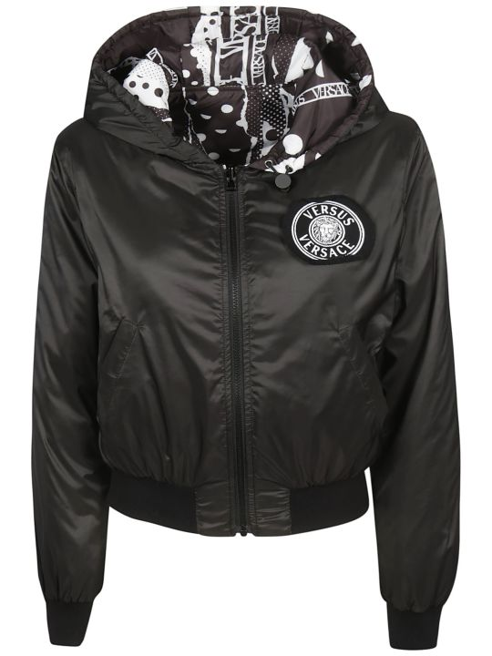 Versus Versace Logo Patch Hooded Jacket