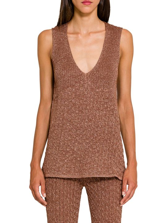 Circus Hotel Lamé Knitted Tank Top
