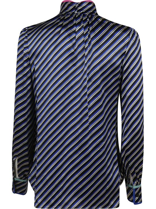 Tory Burch Contrast Binding Printed Bow Blouse
