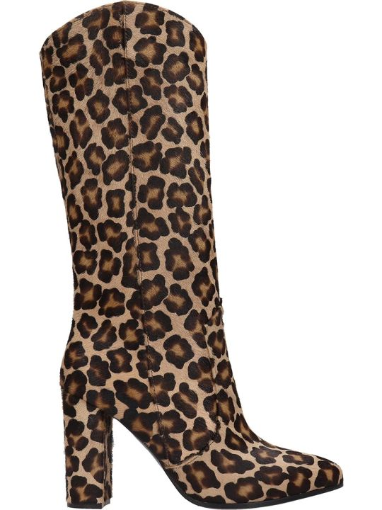 Via Roma 15 High Heels Boots In Animalier Pony Skin