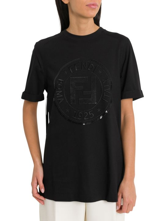 Fendi T-shirt With Fendi Circle, Sequins And Fringe