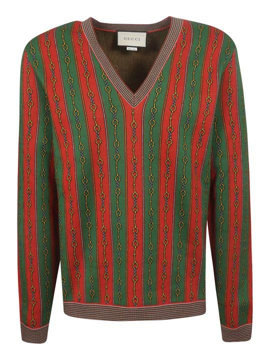 Gucci Horsebit Chain Print Sweater