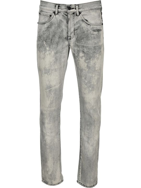 Off-White Off White Acid Wash Printed Logo Jeans