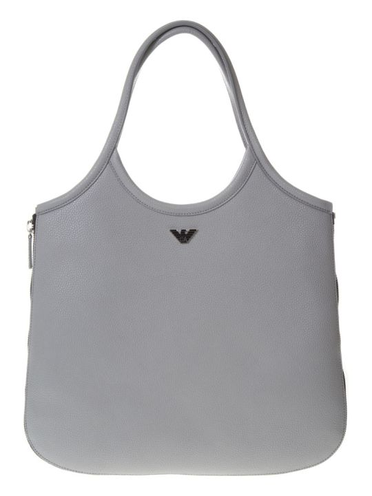 Emporio Armani Hobo Grey Leather Tote With Zip Around