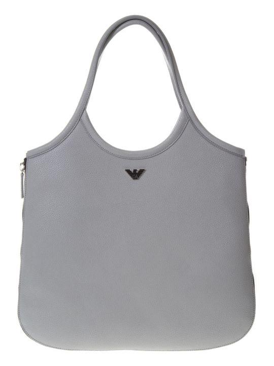 Emporio Armani Hobo Grey Leather Tote With Zip Around
