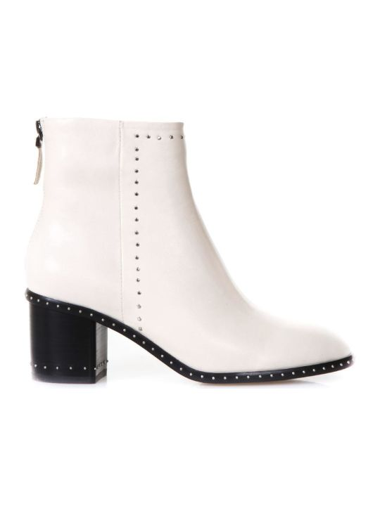 Lola Cruz Studded Ivory Leather Ankle Boots