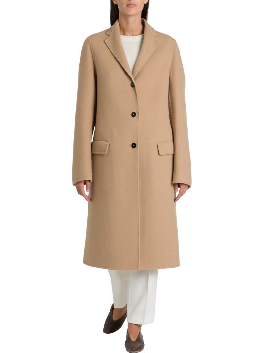 Jil Sander Landow Cappotto Monopetto In Cashmere Double Pettinato