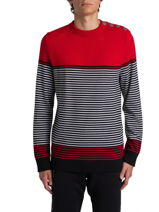 Balmain Striped Crewneck Pull