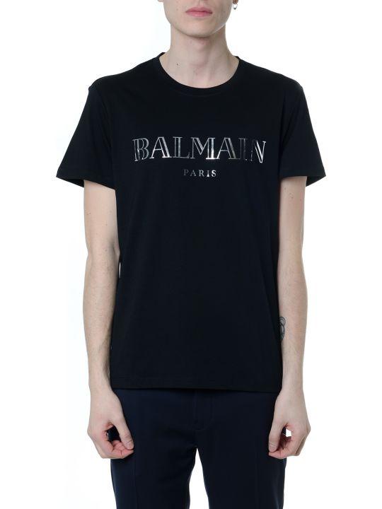 Balmain T-shirt In Cotone Nero Con Logo Balmain Paris