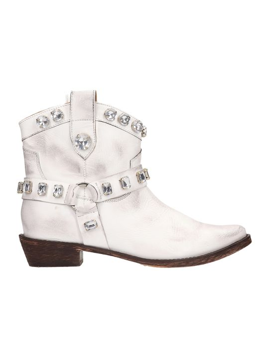 Coral Blue Tex White Leather Boots