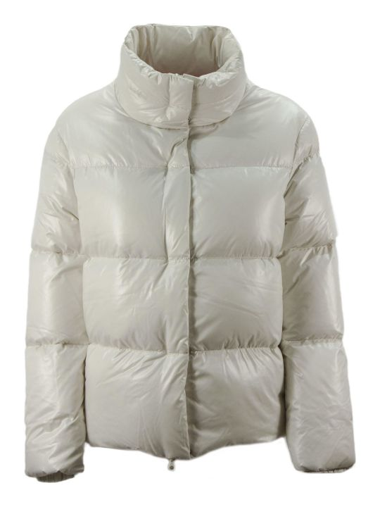 Duvetica Alane White Shiny Nylon Down Jacket.