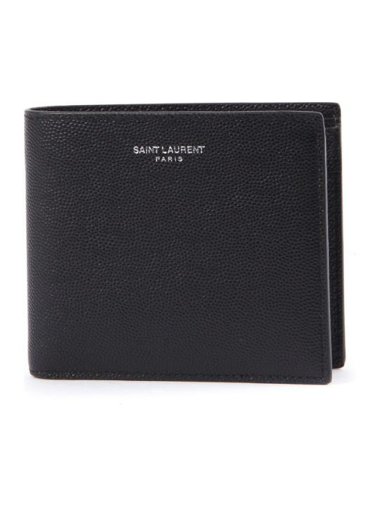Saint Laurent East/west Black Texture Leather Wallet