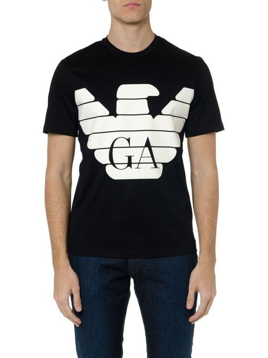 Emporio Armani Black Cotton T Shirt With Rubber Logo Print