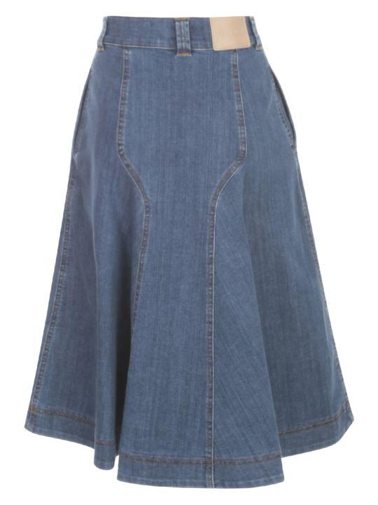 See by Chloé Signature Blue Denim Long Skirt