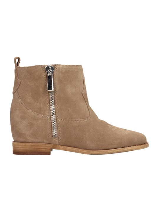 Julie Dee Beige Suede Ankle Boots