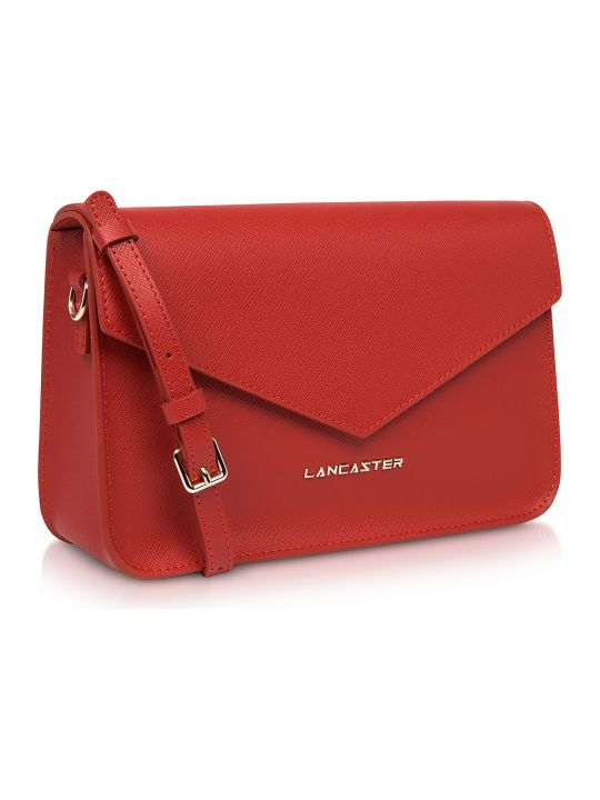 Lancaster Paris Adeline Saffiano Leather Flap Clutch W/shoulder Strap