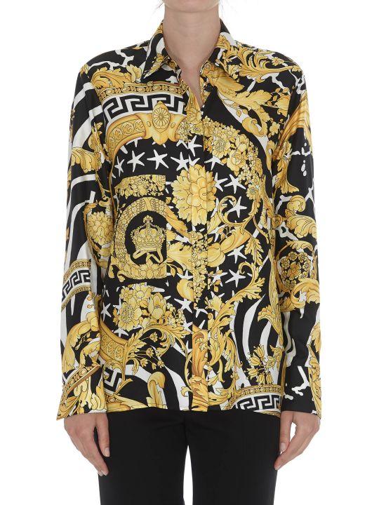 Versace Savage Barocco Print Silk Shirt