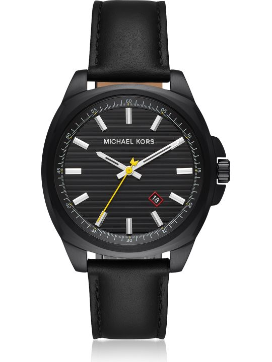 Michael Kors Bryson Black Ip And Leather Men's Watch