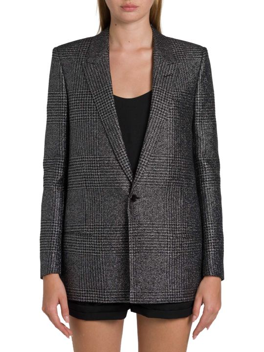 Saint Laurent Cardigan Jacket In Lamé Glen Plaid
