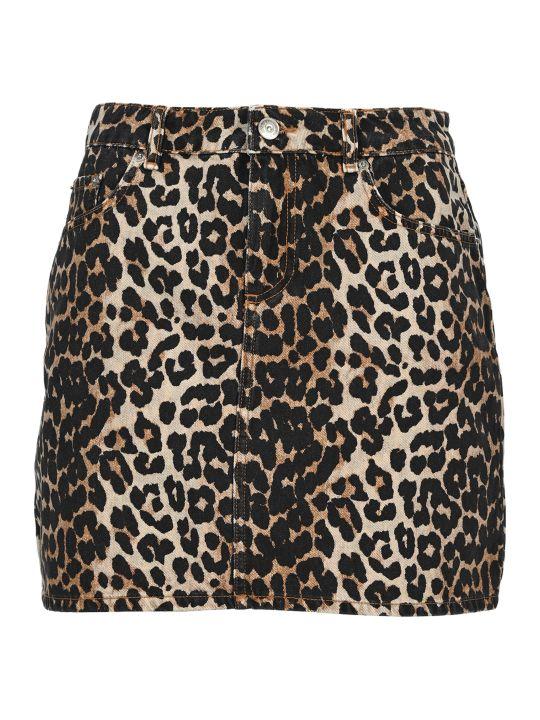 Ganni Leopard Print Denim Skirt