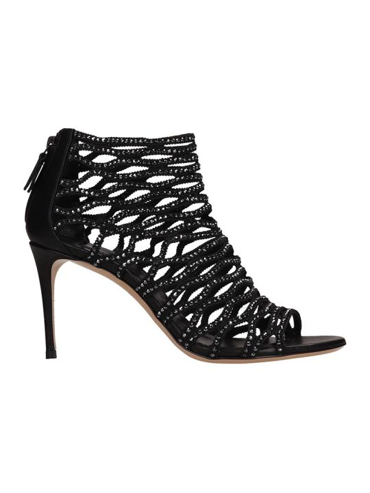 Casadei Crystals Net Black Suede Sandals