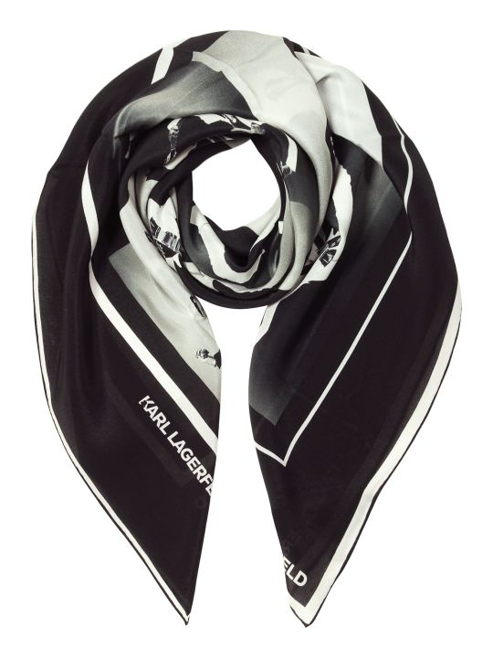 Karl Lagerfeld Karl Legend Guitar Puzzle Silk Square Scarf