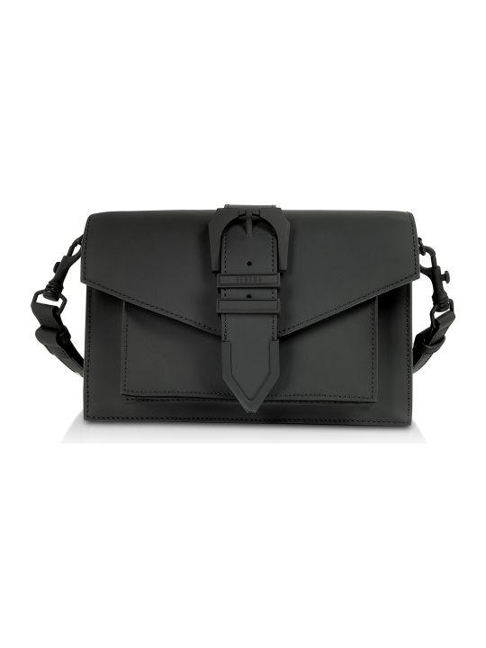 Versus Versace Versace Versus Iconic Black Gommato Leather Buckle Shoulder Bag